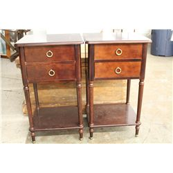 MATCHING PAIR MAHOGANY NIGHT STANDS - NEAR MINT - 2 FOR 1 MONEY