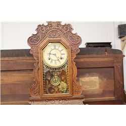 OAK CASED GINGERBREAD CLOCK - BY WATERBURY
