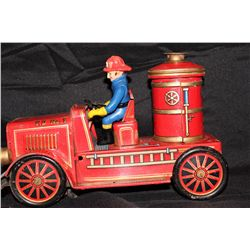 "EARLY JAPAN PRESSED TIN FIRE PUMPER - 11"" LONG"