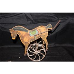 EARLY TOY HORSE ON WHEELS