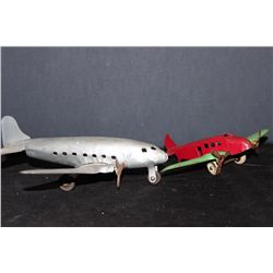 "2 PLANES 1 MONEY - SILVER PLANE 7.5"" WINGSPAN 9"" - RED PLANE 3"" WINGSPAN 7"" - GOOD COND."