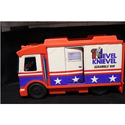1973 IDEAL COMPLETE EVIL KNIEVEL TOURING VAN AND STUNT CYCLE W/ ORIG. BOXES - CYCLE HAS 1 BROKEN HAN
