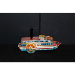 GREAT STEAMBOAT BY MODERN TOYS JAPAN - BATTERY OPERATED - WORKS PERFECT - WHISTLE BLOWS - NEAR MINT