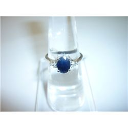 10.25 CTW SAPPHIRE AND DIAMOND RING .925 STERLING SILVE