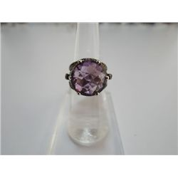 45.00 CTW AMETHYST AND SMOKEY TOPAZ RING .925 STERLING