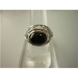 30.25 CTW BLACK STAR RING .925 STERLING SILVER