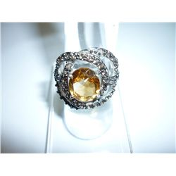 47.25 CTW CITRINE RING .925 STERLING SILVER