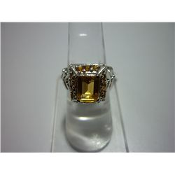 33.50 CTW CITRINE RING .925 STERLING SILVER