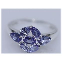 12.62 CTW TANZANITE RING .925 STERLING SILVER