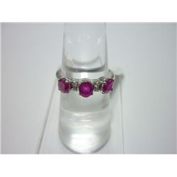 NATURAL 14.75 CTW RUBY RING .925 STERLING SILVER