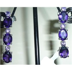 NATURAL 32.00 CTW AMETHYST EARRING .925 STERLING SILVER
