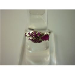 13.25 CTW RUBY RING .925 STERLING SILVER
