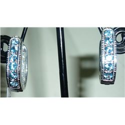 NATURAL 30.00 CTW BLUE TOPAZ EARRING .925 STERLING SILV