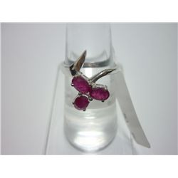 NATURAL 13.50 CTW RUBY RING .925 STERLING SILVER