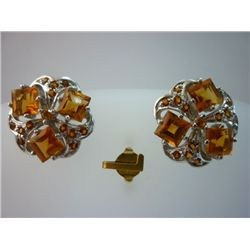 31.00 CTW CITRINE EARRING .925 STERLING SILVER