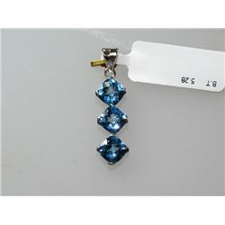 13.50 CTW BLUE TOPAZ PENDANT .925 STERLING SILVER