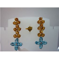 42.75 CTW CITRINE AND BLUE TOPAZ EARRING .925 STERLING