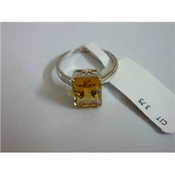 NATURAL 12.75 CTW  CITRINE RING .925 STERLING SILVER