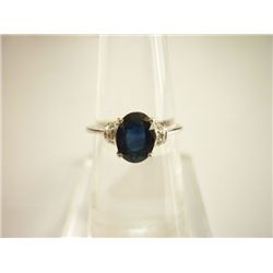 8.75 CTW SAPPHIRE AND DIAMOND RING .925 STERLING SILVER