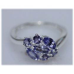 10.89 CTW TANZANITE RING .925 STERLING SILVER