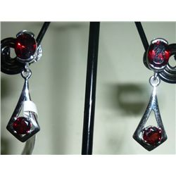 NATURAL 27.25 CTW GARNET EARRING .925 STERLING SILVER