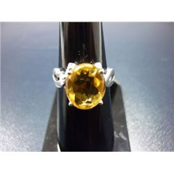NATURAL 21.50 CTW  CITRINE RING .925 STERLING SILVER