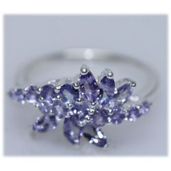 14.19 CTW TANZANITE RING .925 STERLING SILVER