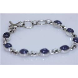 NATURAL 60.00 CTW TANZANITE OVAL CUT BRACLET .925 STERL