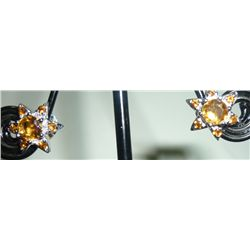 NATURAL 16.00 CTW CITRINE EARRING .925 STERLING SILVER