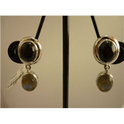 40.25 CTW BLACK STAR AND LABARODITE EARRING .925 STERLI