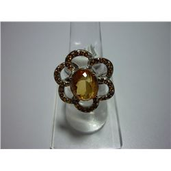 46.25 CTW CITRINE RING .925 STERLING SILVER