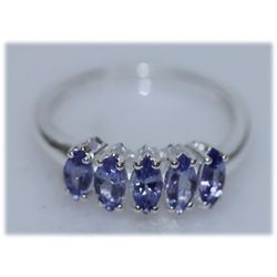 11.00 CTW TANZANITE RING .925 STERLING SILVER