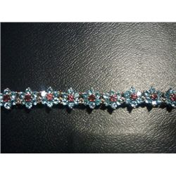 NATURAL 89.75 CTW BLUE TOPAZ AND GARNET BRACELET .925 S