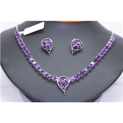 153.91 CTW AMETHYST NECKLACE AND EARRING SET .925 STERL