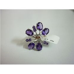 NATURAL 30.75 CTW  AMETHYST RING .925 STERLING SILVER