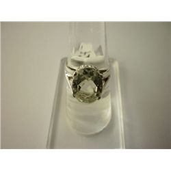 20.75 CTW GREEN AMETHYST RING .925 STERLING SILVER