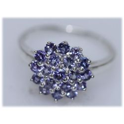 13.52 CTW TANZANITE RING .925 STERLING SILVER
