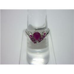 NATURAL 11.75 CTW RUBY RING .925 STERLING SILVER