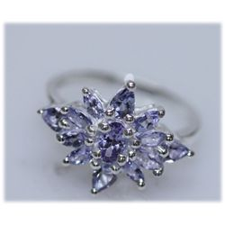 12.71 CTW TANZANITE RING .925 STERLING SILVER