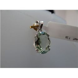 13.50 CTW GREEN AMETHYST PENDANT .925 STERLING SILVER