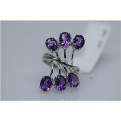 23.47 CTW AMETHYST RING .925 STERLING SILVER