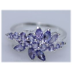 13.43 CTW TANZANITE RING .925 STERLING SILVER