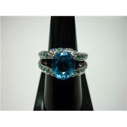 NATURAL 41.00 CTW BLUE TOPAZ RING .925 STERLING SILVER