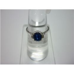 NATURAL 10.00 CTW SAPPHIRE AND DIAMOND RING .925 STERLI