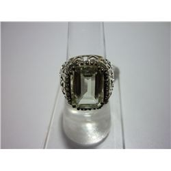 36.00 CTW GREEN AMETHYST AND WHITE TOPAZ RING .925 STER
