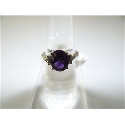18.00 CTW AMETHYST AND SMOKEY TOPAZ RING .925 STERLING