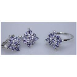 32.36CTW TANZANITE RING .925 STERLING SILVER