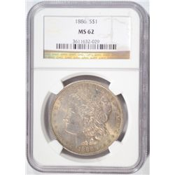 1886 MORGAN DOLLAR NGC MS62