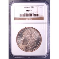 1884-CC MORGAN SILVER SILVER DOLLAR NGC MS65