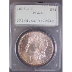 1883-CC MORGAN SILVER DOLLAR PCGS RATTLER HOLDER MS64